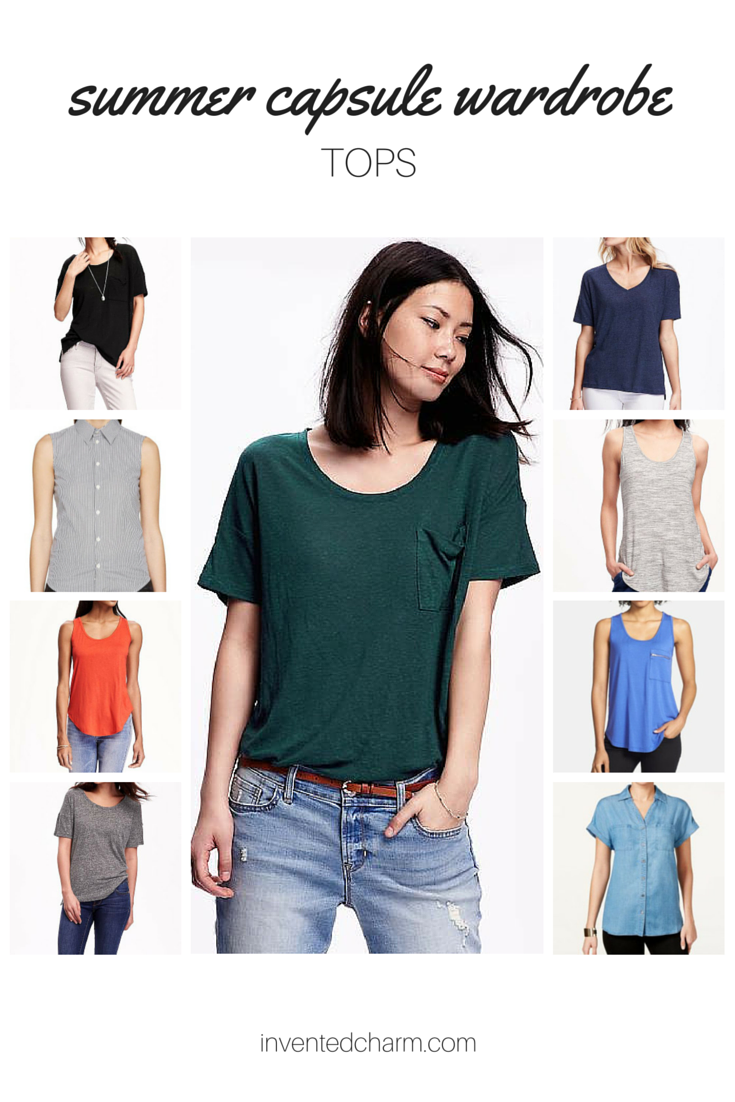 tops for a summer capsule. building a capsule wardrobe from basics.