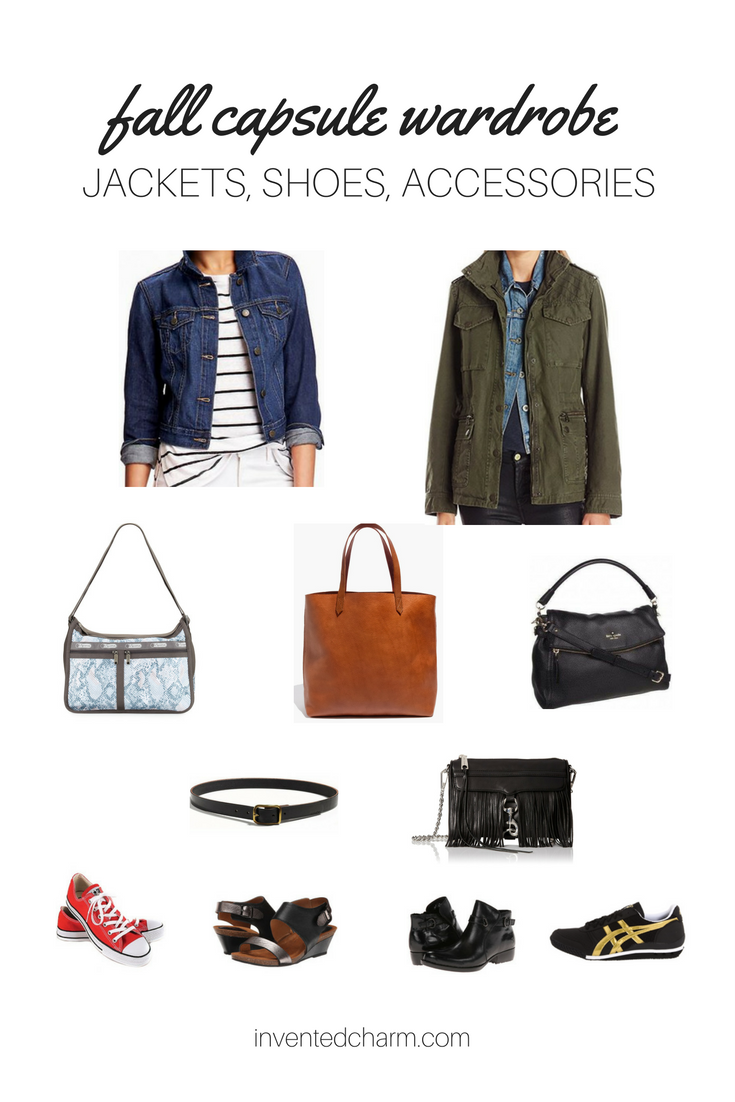 jackets, shoes, and accessories for a fall transitional capsule wardrobe