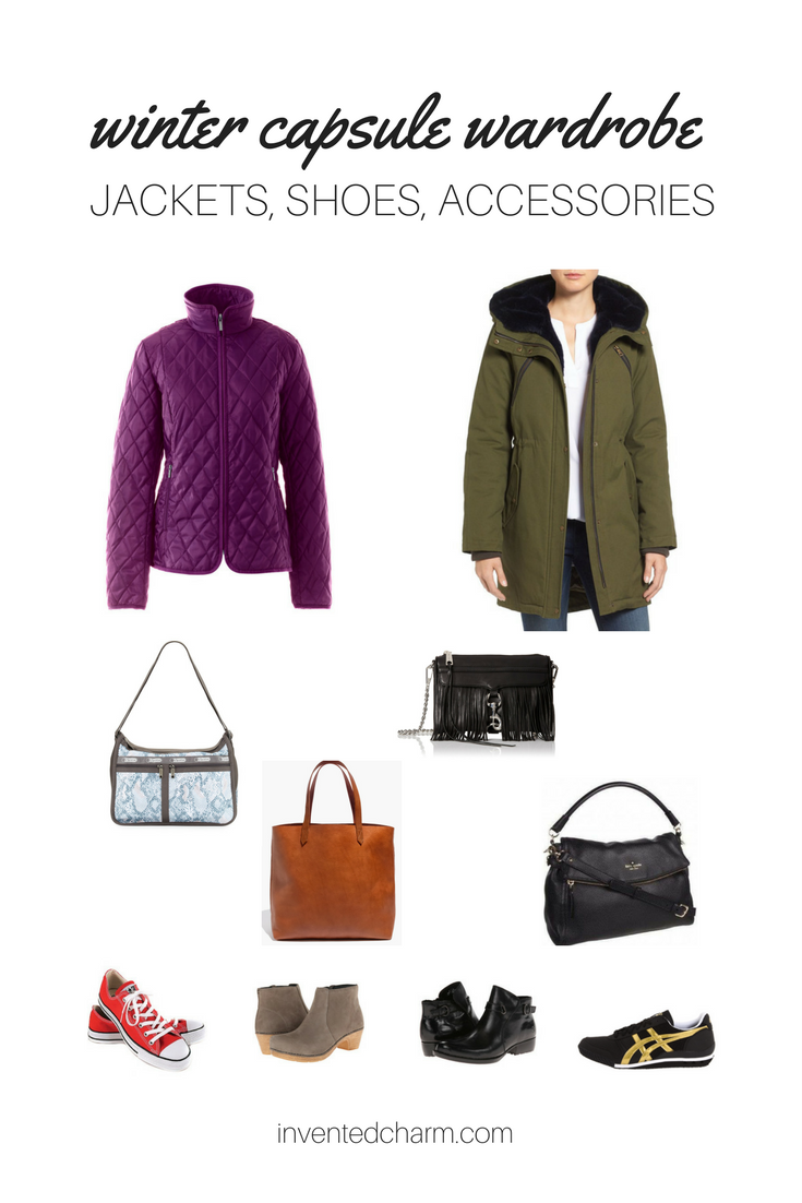 winter capsule wardrobe including jackets, shoes, and handbags